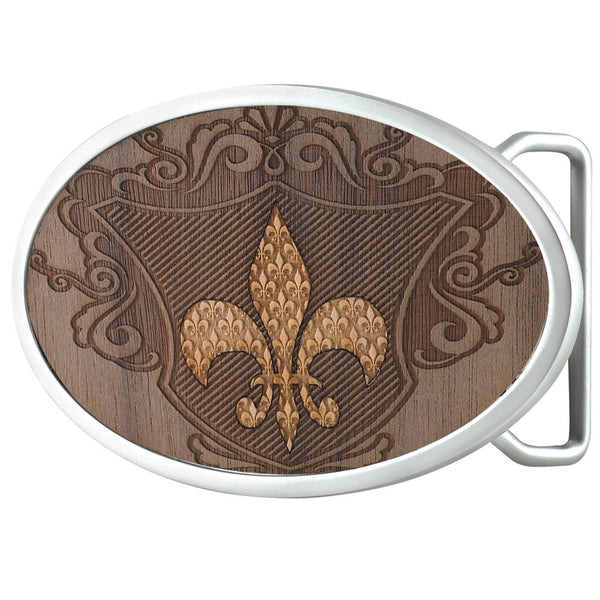 Fleur-De-Lis Shield Oval Belt Buckle