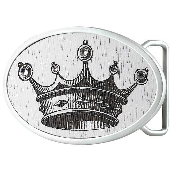Crown With Gems Oval Belt Buckle