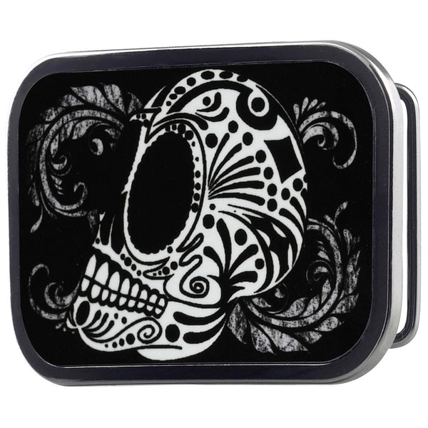Tattoo Skull Floral Belt Buckle