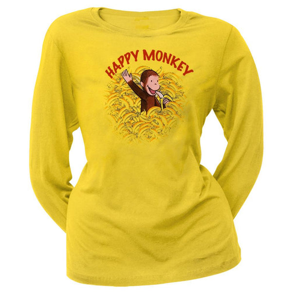 Curious George - Happy Monkey Juniors Long Sleeve T-Shirt