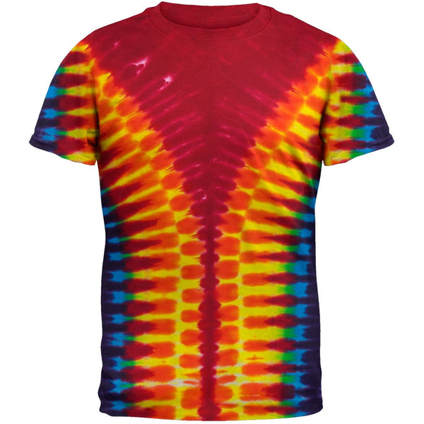 V-Pattern Rainbow Tie Dye T-Shirt