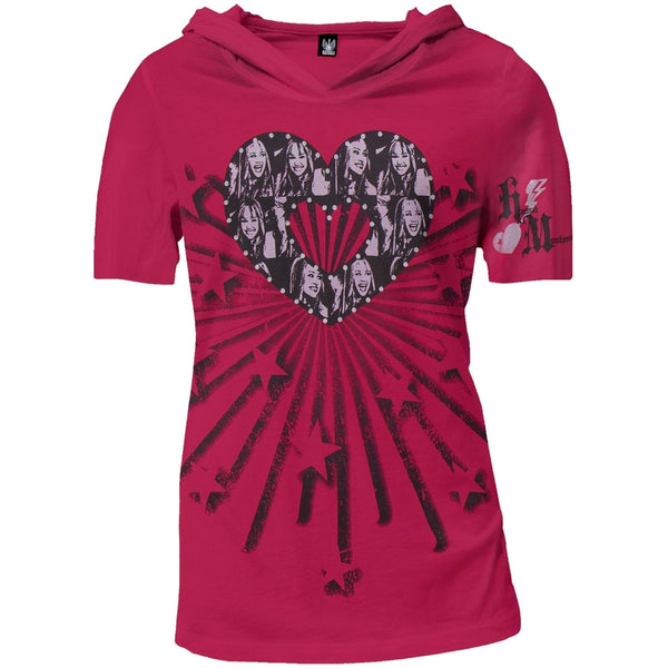 Hannah Montana - Heart Juniors Hooded V-Neck T-Shirt