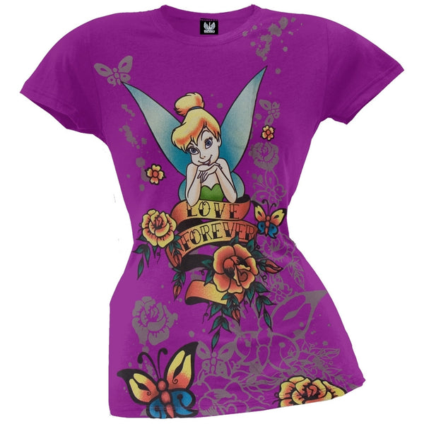 Tinkerbell - Love Forever Purple Juniors T-Shirt