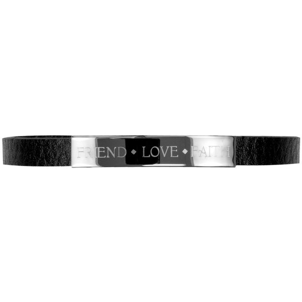 Friend Love Faith Bracelet Metal Plate Faux Leather