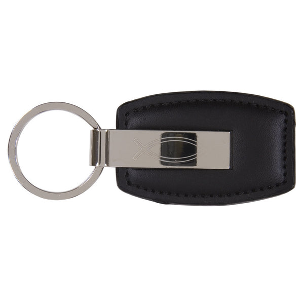 Metal Ichthus Leather Keychain