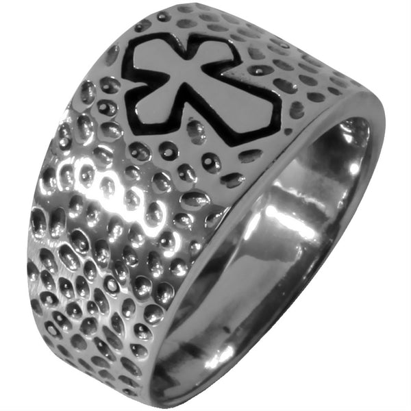Dimpled Medieval Cross - Silver Ring