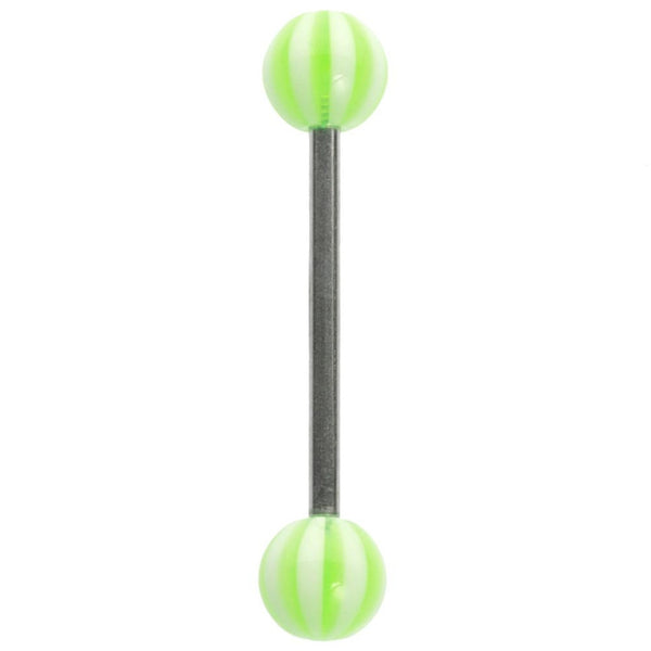 14G 3/4 Green Striped Balls Straight Barbell