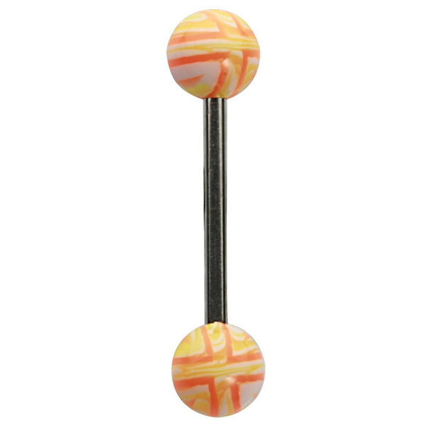 14G 5/8 UV Orange Striped Balls Straight Barbell