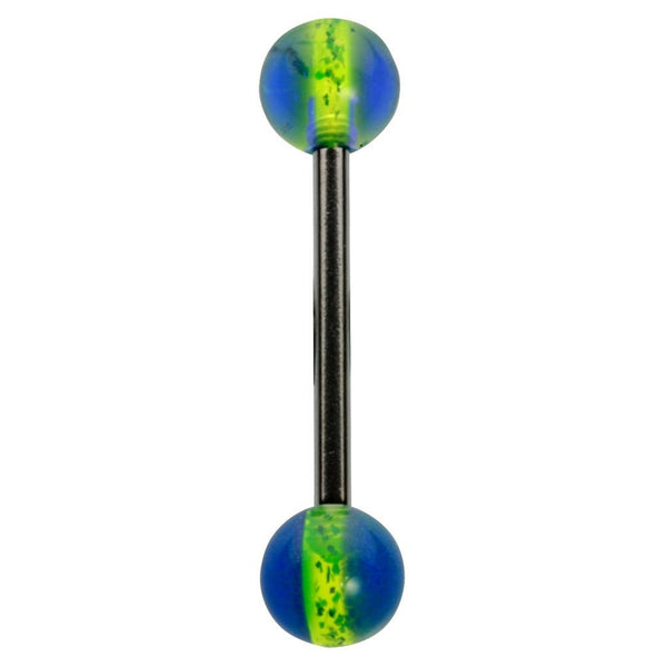 14G 5/8 Double Blue Glow in the Dark Glitter Striped Straight Barbell