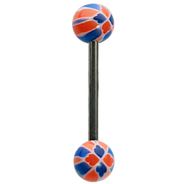 14G 5/8 Orange and Blue UV Checkers Straight Barbell