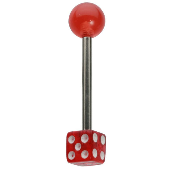 14G 5/8 One Sided Red UV Dice Straight Barbell