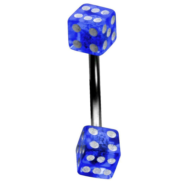 14G 5/8 One Sided Blue UV Dice Straight Barbell