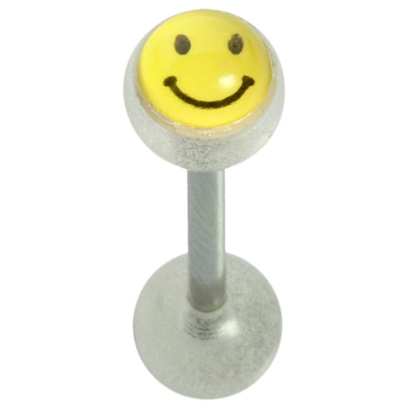 14G 5/8 Clear Glow Smiley Straight Barbell