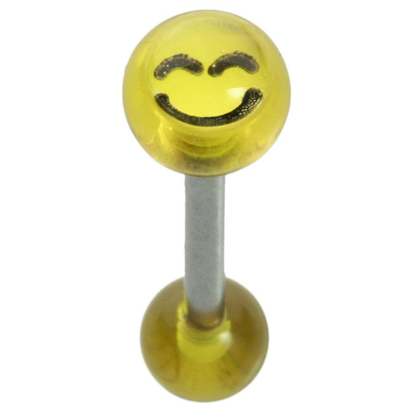 14G 5/8 Yellow Smiley Straight Barbell