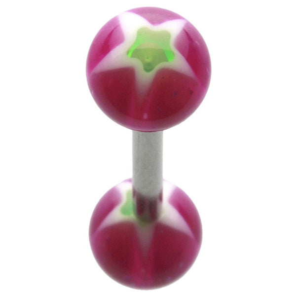 14G 5/8 Green and Fuschia Star UV Straight Barbell
