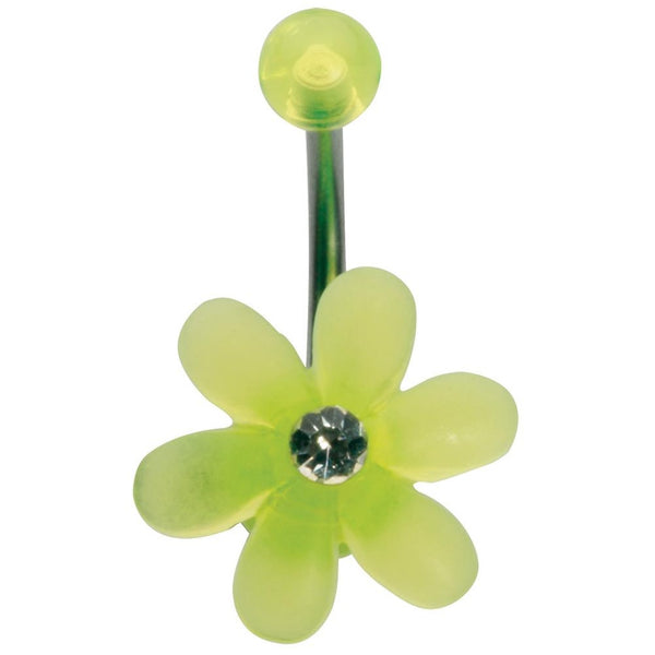 14G 3/8 Fluorescent Yellow UV Flower Ball Curved Barbell