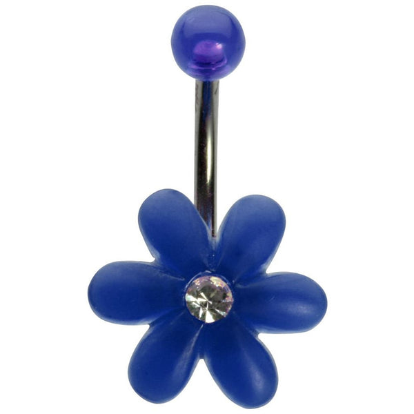14G 3/8 Blue UV Flower with Gem and Blue Ball Curved Barbell