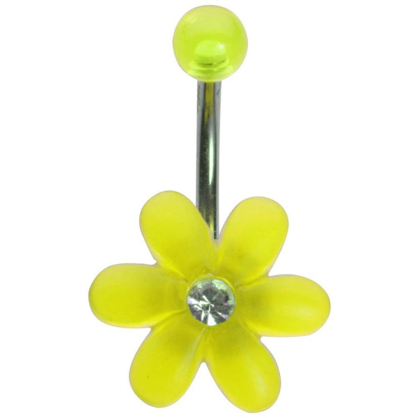 14G 3/8 Fluorescent Yellow UV Flower with Gem Curved Barbell