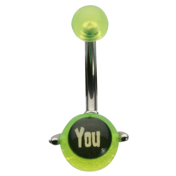 14G 3/8 Fuck You Fluorescent Yellow Spinner UV Curved Barbell