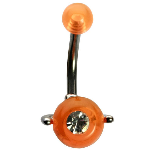14G 3/8 Orange UV with Jewel Spinner Ball Curved Barbell