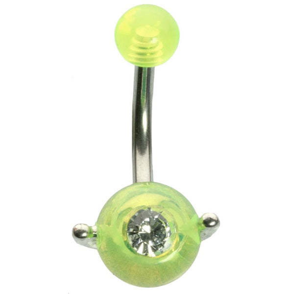 14G 3/8 Fluorescent Yellow UV with Jewel Spinner Ball Curved Barbell