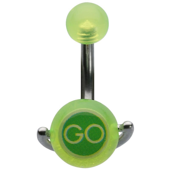 14G 3/8 Fluorescent Yellow Stop/Go Spinner Curved Barbell