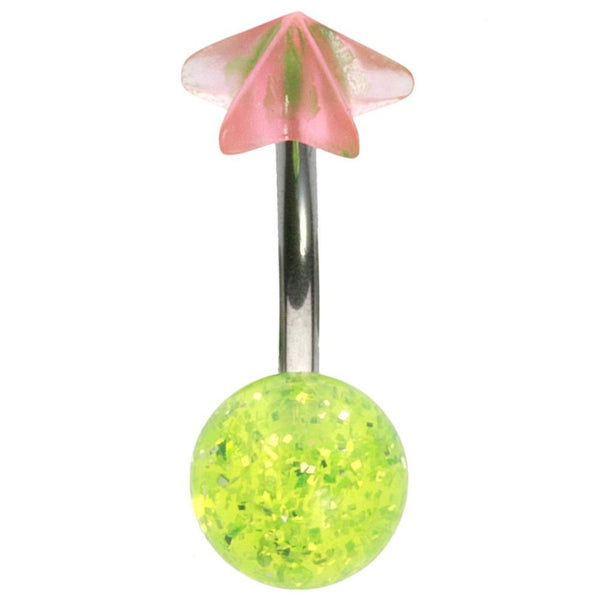 14G 3/8 UV Green and Pink Glitter Star Curved Barbell