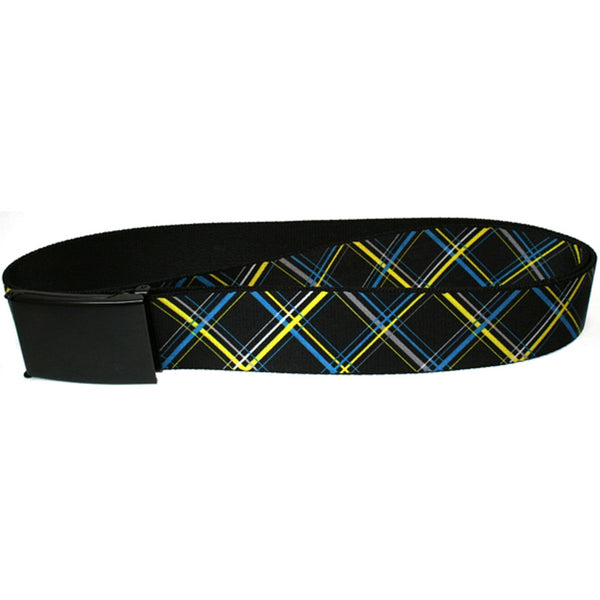 Plaid Turquoise, Yellow, Black and Grey Web Belt