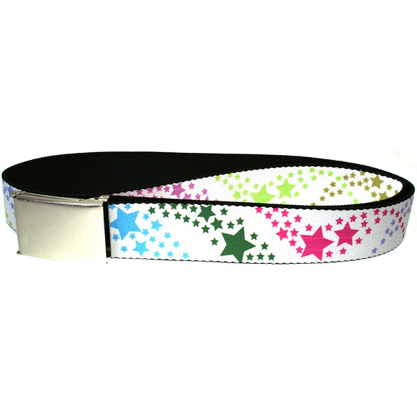Falling Stars - White and Multi Color Web Belt
