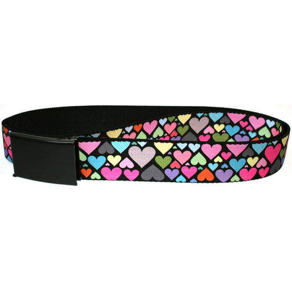 Hearts - Black and Multi Colored Web Belt