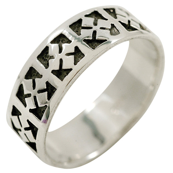 Celtic Cross Band - Silver Ring