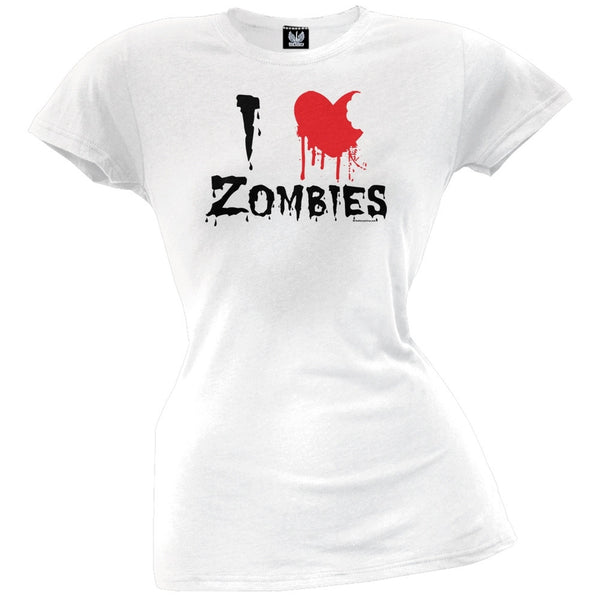 Halloween I Heart Zombies Juniors White T-Shirt