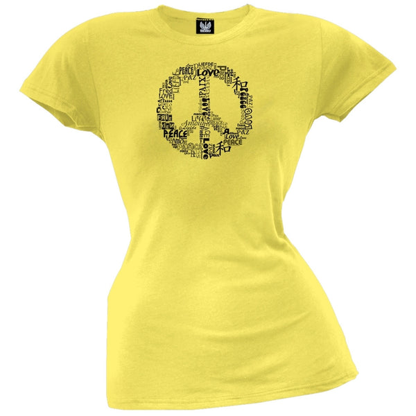 Love and Peace Sign Yellow Juniors T-Shirt