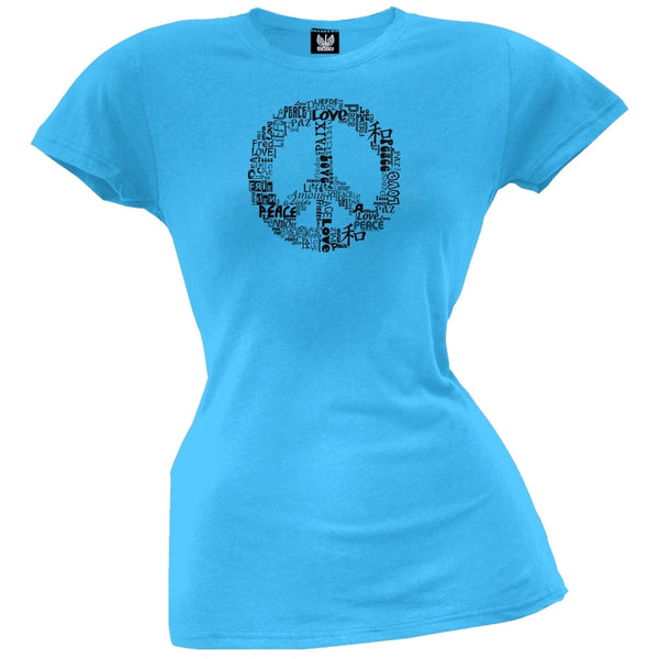 Love and Peace Sign Turquoise Juniors T-Shirt