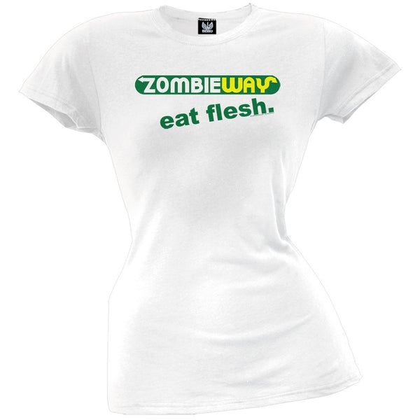 Zombie Way Eat Flesh Juniors T-Shirt