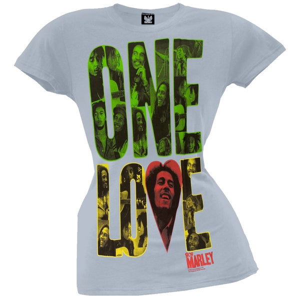 Bob Marley - One Love Block Light Blue Juniors T-Shirt