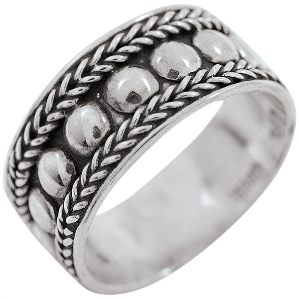 Braid & Bead Sterling Silver Ring
