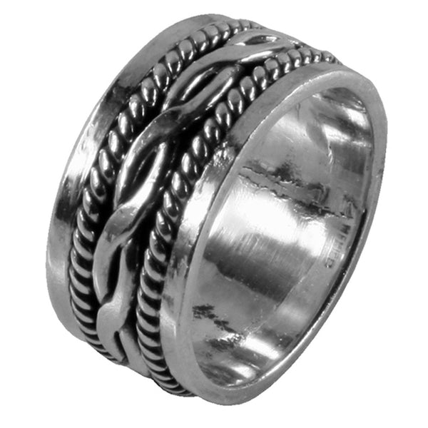 Large & Small Braid Sterling Silver Ring