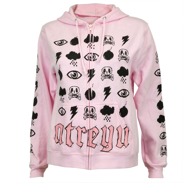 Atreyu - Pink Symbols All-Over Women's Zip Hoodie