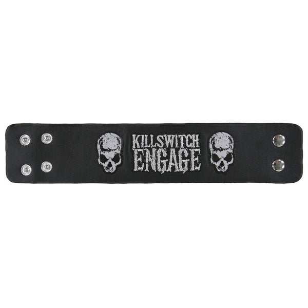 Killswitch Engage - Logo Skulls Leather Wristband