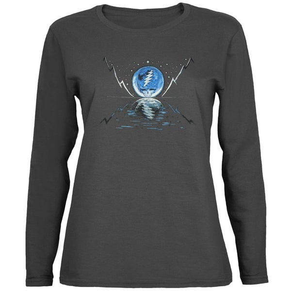 Grateful Dead - Blue Moon Grey Juniors Long Sleeve T-Shirt