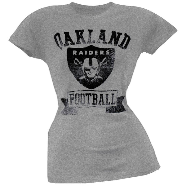 Oakland Raiders - Vintage Flock Logo Juniors T-Shirt