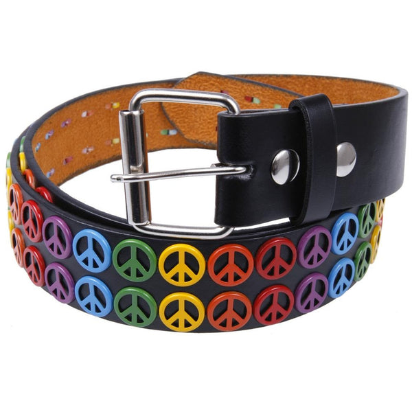 Peace Studs Leather Belt