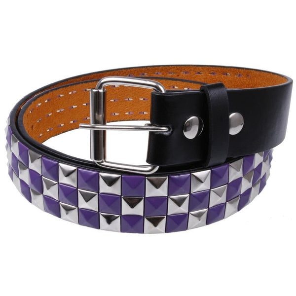 Purple & Silver Studded Leather Belt