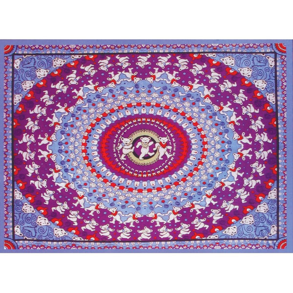 Grateful Dead - Purple Kaliedescope Dancing Bear Tapestry