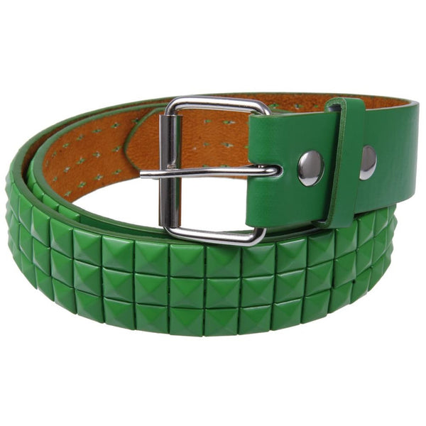 Green Studded Leather Belt