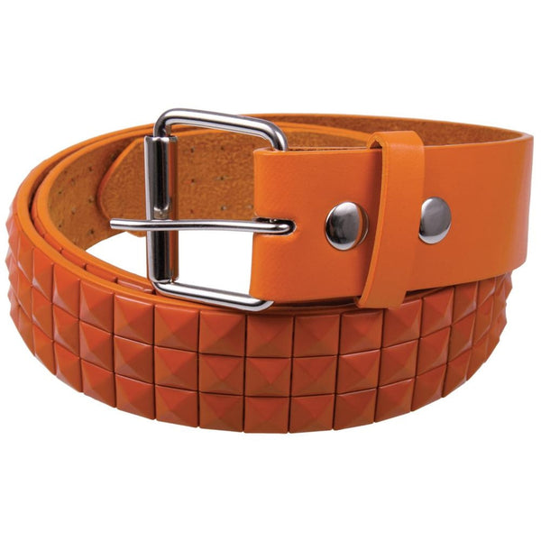 Orange Studded Leather Belt