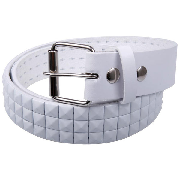 White Studded Leather Belt
