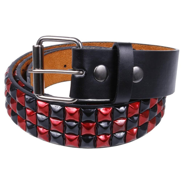 Black & Red Studded Leather Belt