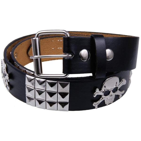 Jolly Roger Studded Leather Belt